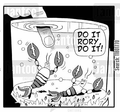 encourages cartoon humor: Lobster shouts 'Do it Rory, Do it!' to Lobster about to pinch an enquiring finger.