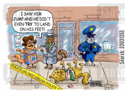 patrol officer cartoon humor: Falling catcat can't land on it's feet.