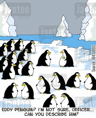 crime suspect cartoon humor: 'Eddy Penguin? I'm not sure, officer... Can you desctibe him?'