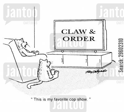 cat owners cartoon humor: 'This is my favorite cop show.'
