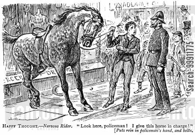 run away cartoon humor: Nervous rider hands his horse over to the police