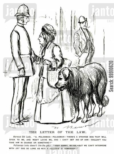 laws cartoon humor: Woman being followed by a dog