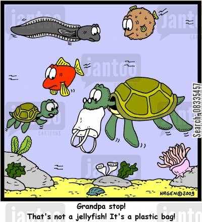ocean cartoon humor: 'Grandpa stop! That's not a jellyfish! It's a plastic bag!'