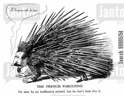 italian unity cartoon humor: The French Porcupine - Emperor Napoleon
