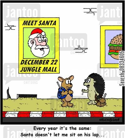 meeting father christmas cartoon humor: 'Every year it's the same: Santa doesn't let me sit on his lap...'