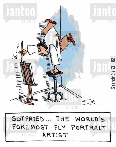 dedication cartoon humor: Gotfried,,,the world's foremost fly portrait artist,