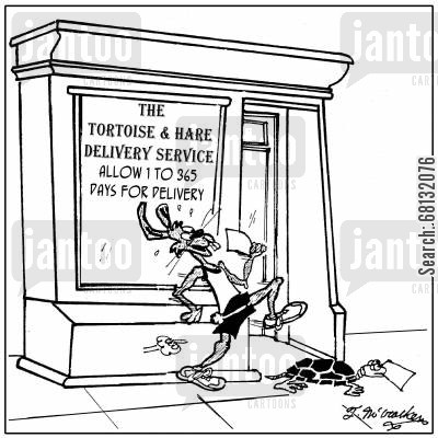 fast delivery cartoon humor: The Tortoise and Hare Delivery Service, Allow 1 to 365 days for delivery,