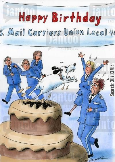 mail carrier cartoon humor: Mail carriers celebration ruined by dog