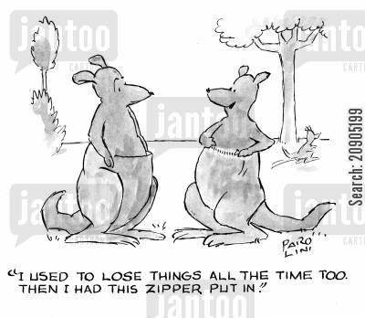 pouch cartoon humor: 'I used to lose things all the time too. Then I had this zipper put in.'
