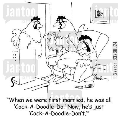 rooster crow cartoon humor: 'When we were first married, he was all 'Cock-A-Doodle-Do.' Now, he's just 'Cock-A-Doodle-Don't.''