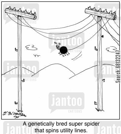 power company cartoon humor: A genetically bred super spider that spins utility lines.