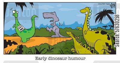 playing jokes cartoon humor: Early dinosaur humour.
