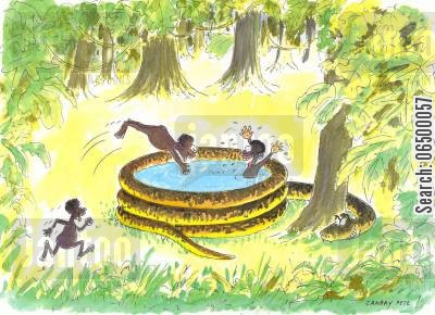 man eaters cartoon humor: Snake pretending to be a paddling pool.