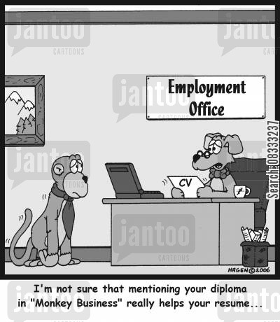 personnel officer cartoon humor: 'I'm not sure that mentioning your diploma in 'Monkey Business' really helps your resume...'