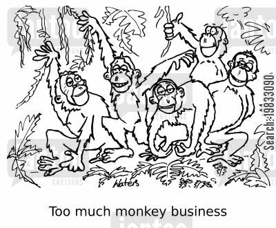 jungle animals cartoon humor: Too much monkey business...