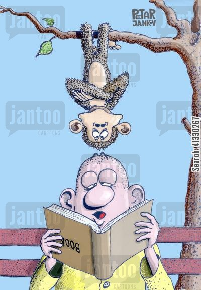 primates cartoon humor: Reading Upside-Down.