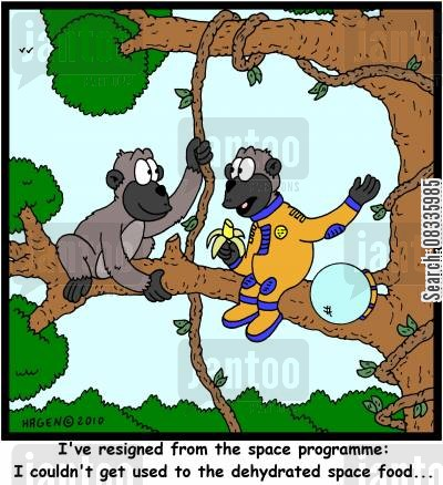 space programme cartoon humor: 'I've resigned from the space programme: I couldn't get used to the dehydrated space food...'