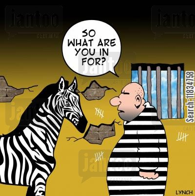 prison stripe cartoon humor: 'So what are you in for?'