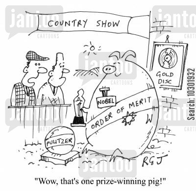 prize-winning pig cartoon humor: 'Wow, that's one prize-winning pig!'