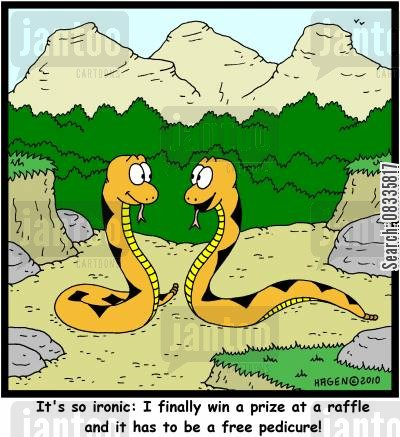 raffle tickets cartoon humor: 'It's so ironic: I finally win a prize at a raffle and it has to be a free pedicure!'