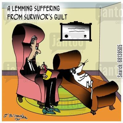 survivors guilt cartoon humor: A lemming suffering from survivor's guilt.