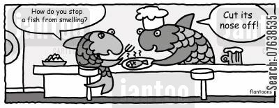 odors cartoon humor: 'How do you stop a fish from smelling?'
