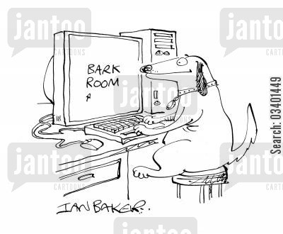 dog chat rooms cartoon humor: Bark Room.
