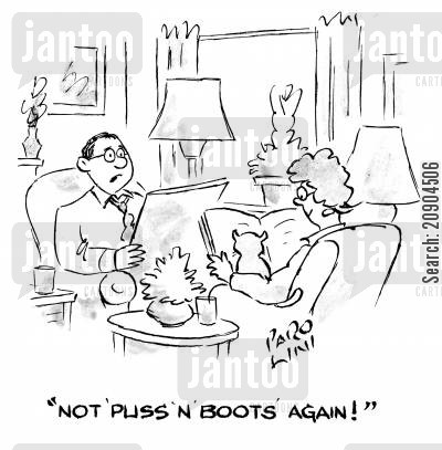 pussy cats cartoon humor: 'Not 'Puss'n'boots' again!'