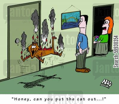 fire extinguishers cartoon humor: 'Honey, can you put the cat out...!'