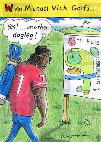 dog fighting ring cartoon humor: When Michael Vick Golfs,