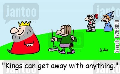 dog owners dog lover cartoon humor: 'Kings can get away with anything!'