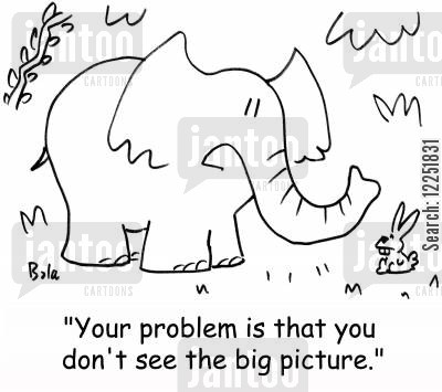 big picture cartoon humor: 'Your problem is that you don't see the big picture.'
