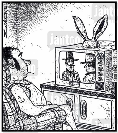rabbit ears cartoon humor: Rabbit ears on top of a man's TV acting as an antenna.