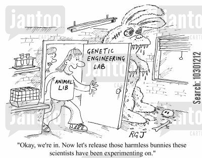 liberation cartoon humor: ...let's release the those harmless bunnies...