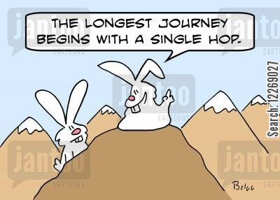 begins cartoon humor: 'The longest journey begins with a single hop.'