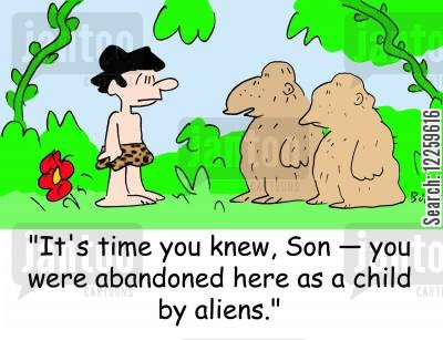 jungle men cartoon humor: 'It's time you knew, Son -- you were abandoned here as a child by aliens.'