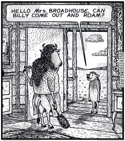 roaming cartoon humor: Young Buffalo: 'Hello Mrs.Broadhouse,can Billy come out and Roam?'