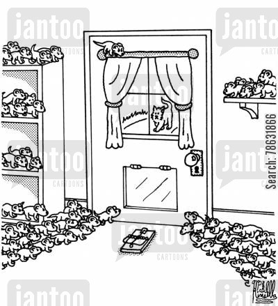 mouser cartoon humor: Rebel mice preparing to ambush a cat.