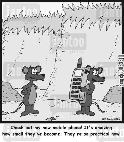 small phone cartoon humor: 'Check out my new mobile phone! It's amazing how small they've become: They're so practical now!'
