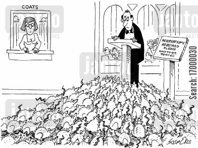 seating plan cartoon humor: Rats queueing to be seated in a restaurant.
