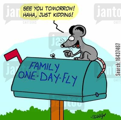 post box cartoon humor: 'See you tomorrow! Haha, just kidding!'