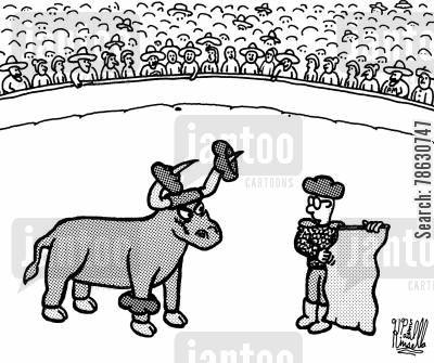 torero cartoon humor: Raton the Bull (el toro asesino) - The killer bull.