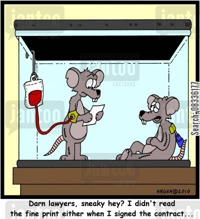 medecine cartoon humor: 'Darn lawyers, sneaky hey? I didn't read the fine print either when I signed the contract...'