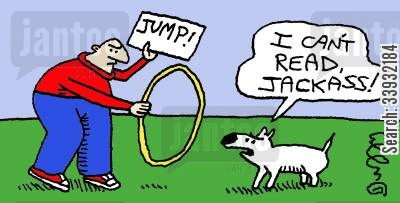 animal tricks cartoon humor: I can't read, Jackass!
