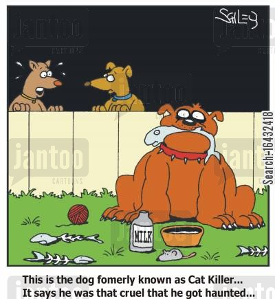 pets getting on cartoon humor: This is the dog formerly known as Cat Killer...