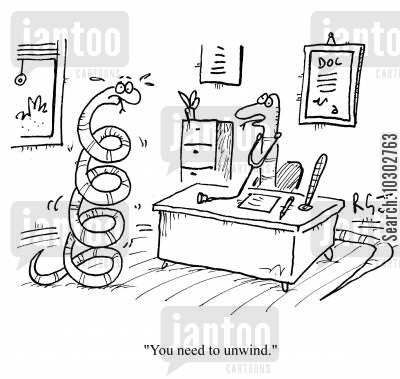 constrictors cartoon humor: 'You need to unwind.'