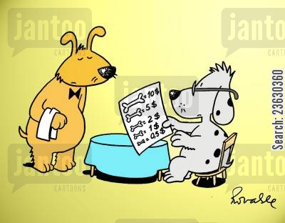 pricing cartoon humor: 'Dog menu.'