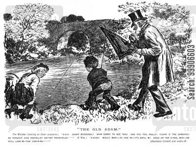 fishes cartoon humor: Two boys fishing in a river.