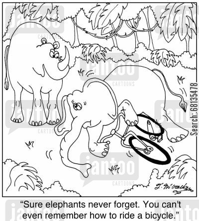 jungle animals cartoon humor: 'Sure elephants never forget. You can't even remember how to ride a bicycle.'