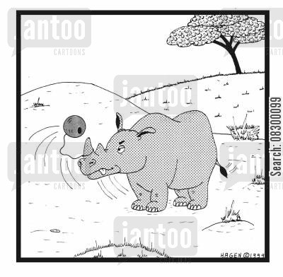 adorning cartoon humor: Rhinoceros With Ball Attached to Horn